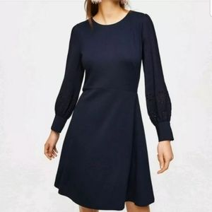 Ann Taylor LOFT L 12 Navy Blue Dress Long Sleeve